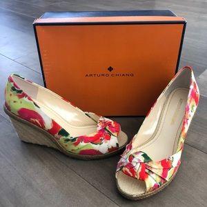 Arturo Chiang floral peep-toe espadrilles